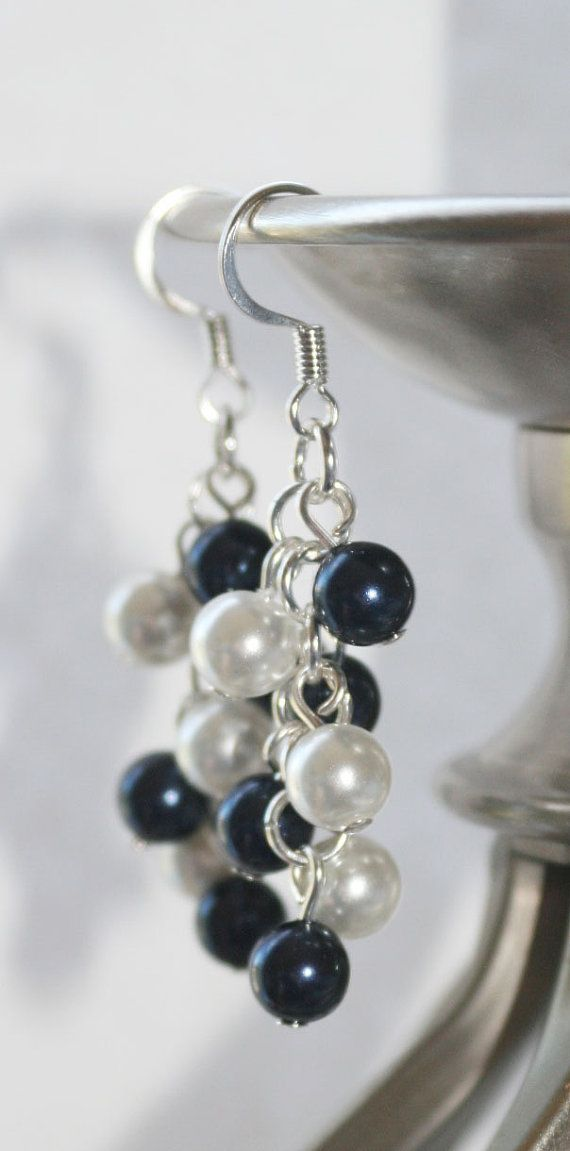 Navy and White Swarovski Pearl Cluster Earrings
