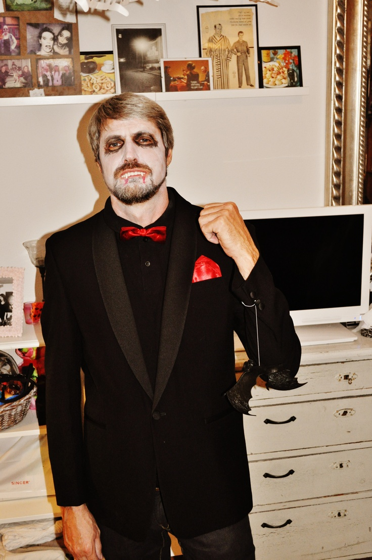 this is my dads costume he made all this by himself also the make-up i am so proud of him !!! he took he's old 2000 new year suit with the bowtie and all that and then he had bought the fangs and the bats in a costume store Diy Halloween