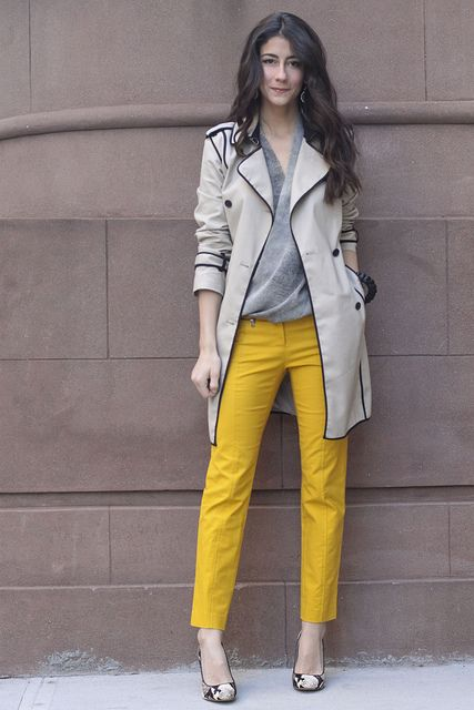 mustard pants grey top trench coat snakeskin shoes