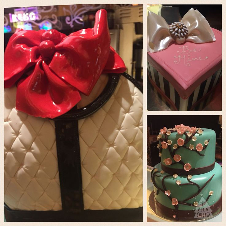 These cakes are so pretty ! The purse shaped one is amazing #cakesculpture