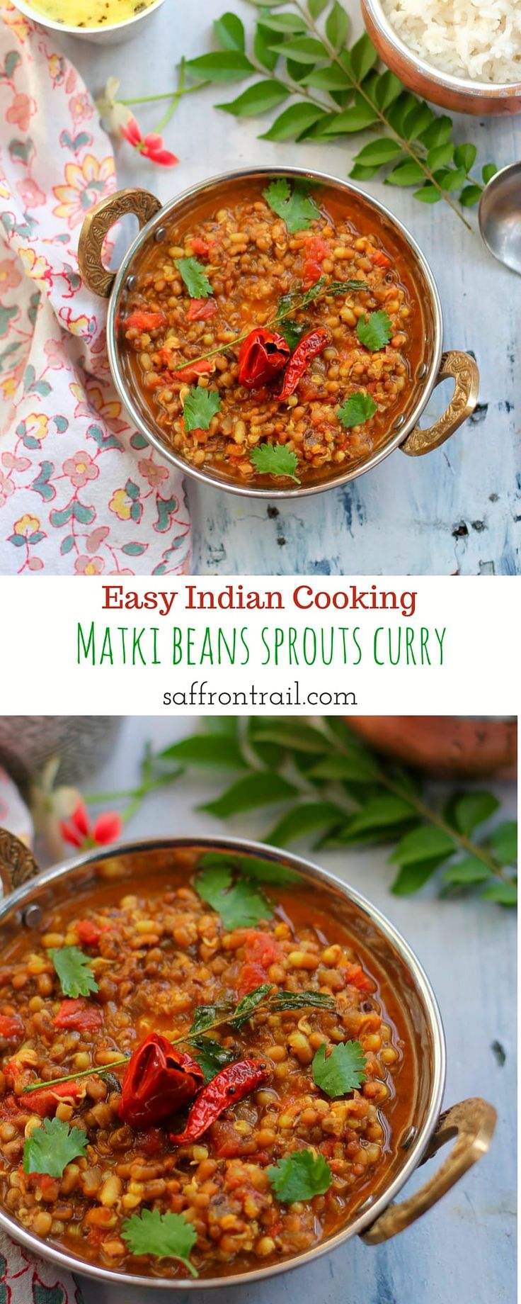 Easy Indian cooking - Indian Moth Beans (Matki) Sprouts Curry Commonly known as Matki in Indian languages, Moth beans in English, these tiny beans are packed with flavour & texture, a delight to cook with. Get the recipe for a simply curry made using these sprouts. Healthy, gluten free and vegan, this curry can be had with rotis, storebought naans or simple steamed rice.