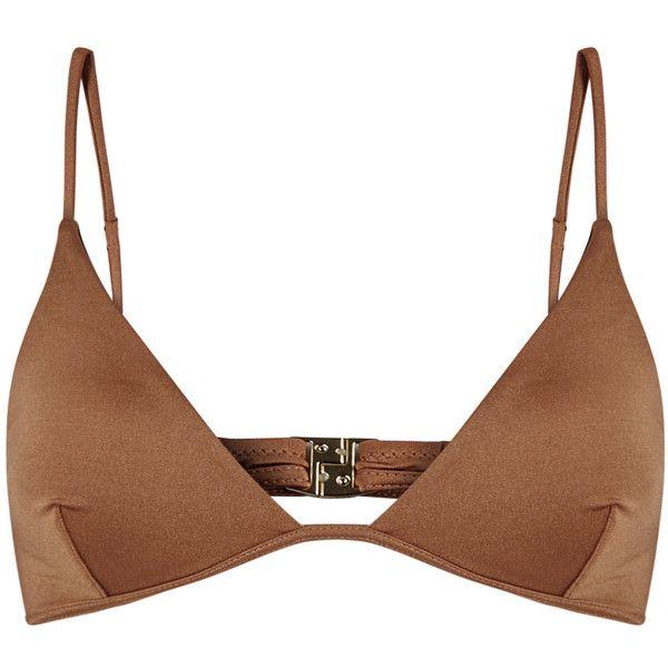Melissa Odabash Bali brown stretch satin bikini top (7.120 RUB) ❤ liked on Polyvore featuring swimwear, bikinis, bikini tops, brown bikini top, swim tops, brown bikini, swimsuit tops and melissa odabash