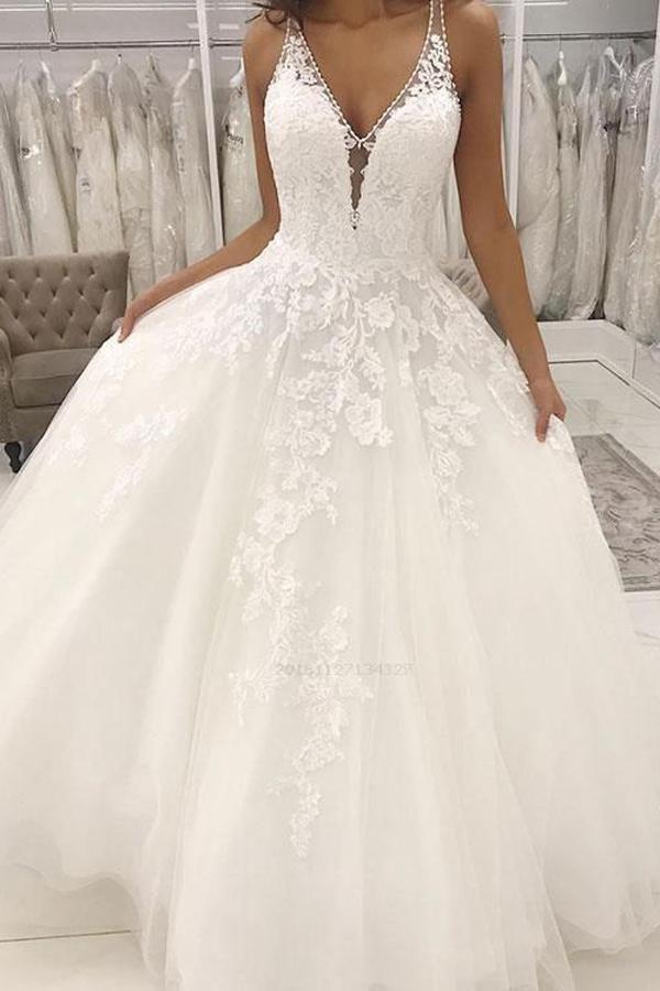 White Simple Wedding Dresses, White Lace Wedding Dresses, V-neck Wedding Dresses