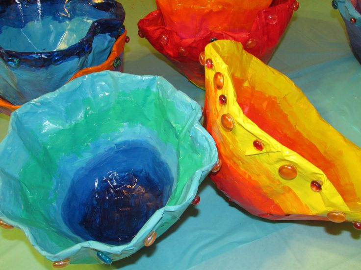 """Chihuly-inspired paper mache bowls; approx. 12""""--14"""" wide; lesson by art teacher: Susan Joe"""