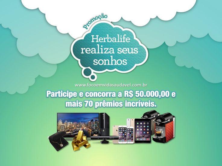 """Voce tem até o dia 31/8/16 para participar. A Herbalife vai sortear R$50.000 em barra ouro, Smart TV 4K Ultra HD 50"""", Iphone 6S e muito mais! PROMOÇÃO HERBALIFE REALIZA SEUS SONHOS, saiba mais:  http://www.focoemvidasaudavel.com.br/promocao-herbalife-realiza-seus-sonhos-vai-dar-50mil-mais-71-premios-incriveis/"""