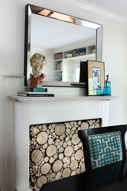 fake fireplace mantel with stacked log tutorial