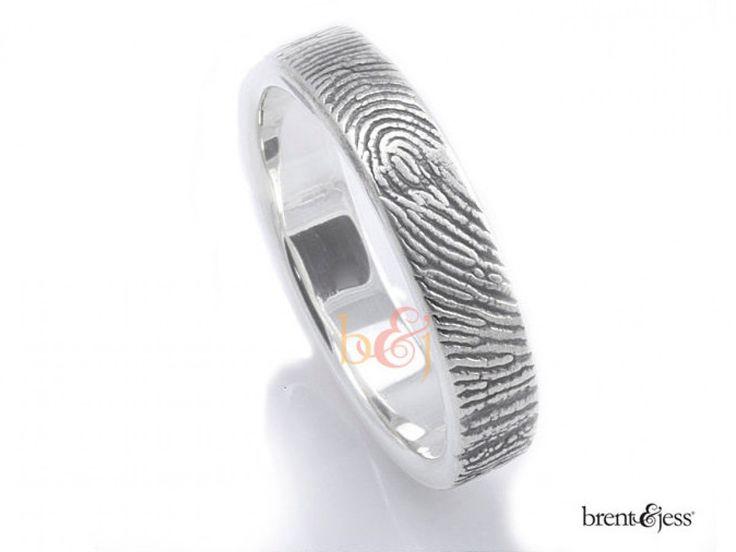 Best  mm Sterling Silver Custom Fingerprint Wedding Commitment Ring with Fingerprint Wrapped on the Outside by Brent u Jess Custom Handmade Fingerprint