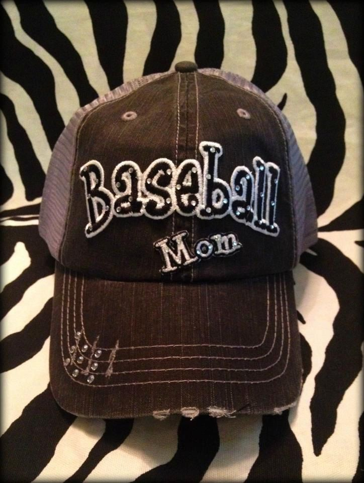 Custom School Team Baseball Mom Distressed  Bling Hat. $35.00, via Etsy.