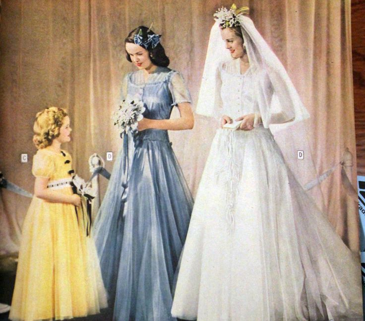 1940s wedding gowns  | History of 1940s Wedding Dresses - 1940s Fashion | 1940s Fashion. LOVE the maid of honors dress! :O