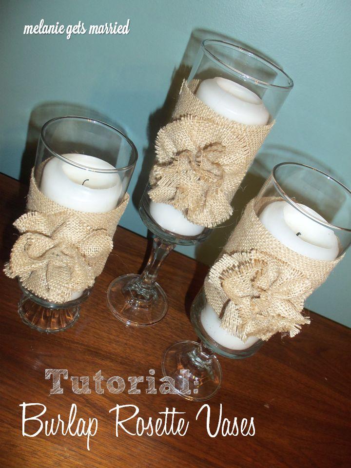 burlap rosette hurricane vases
