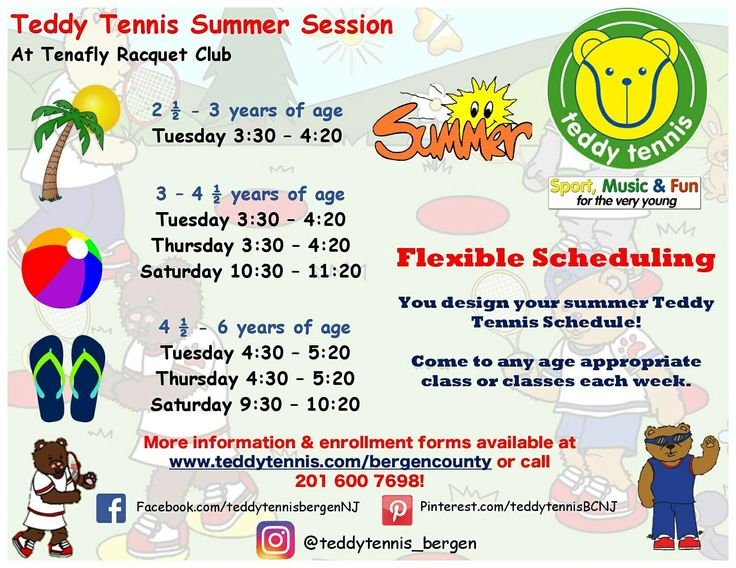It's almost summer time! Enroll your Cub Cadets today for the Teddy Tennis Summer Session at Tenafly Racquet Club. With flexible scheduling, you design your summer Teddy Tennis schedule! #TeddyTennis #SportMusicFun
