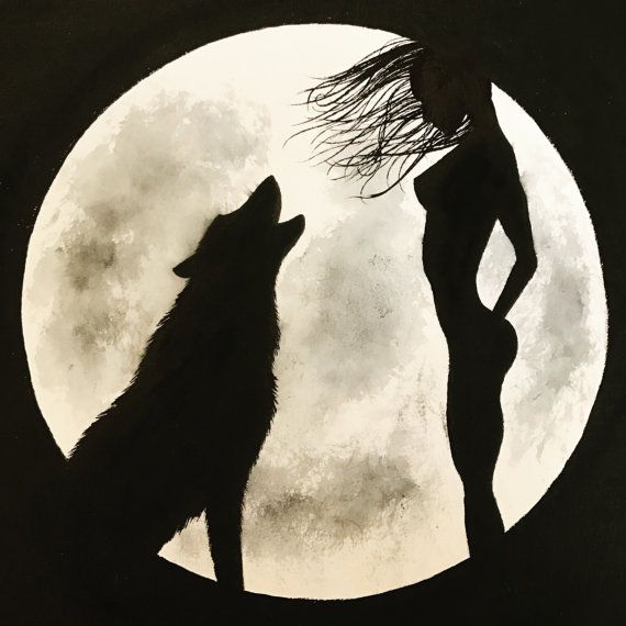 Black and white painting of a girl and a wolf howling by LeFairie