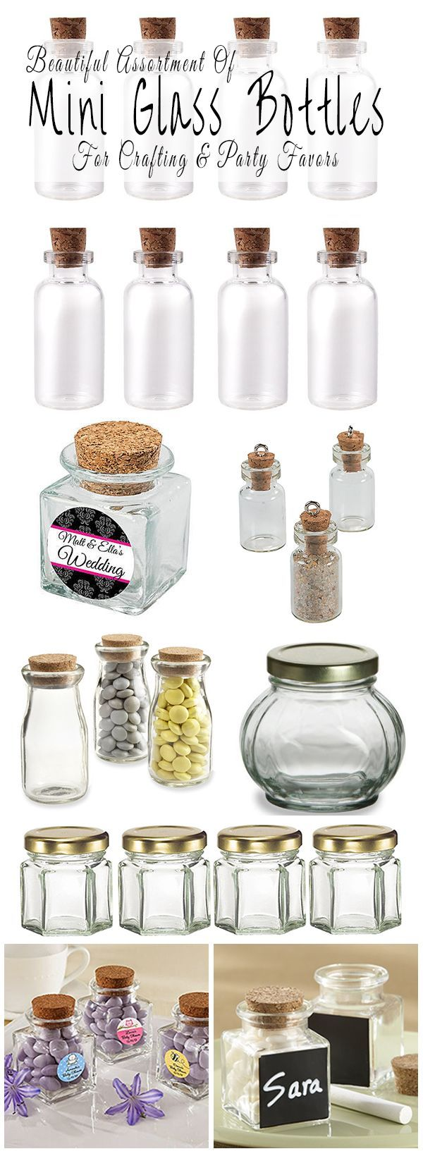 Where to buy mini glass bottles and jars for making diy party favors and table decorations for a wedding, baby shower, birthday, anniversary or graduation party. There are also tiny mini glass bottles for making miniature art and jewelry. | Glitter 'N' Spice