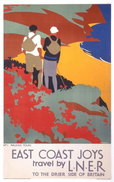 Walking Tours - L.N.E.R. Poster, Tom Purvis. He served in The Artists Rifles during WWI.