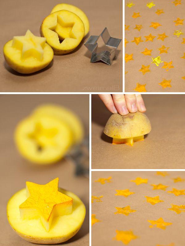 :: zweimalB :: DIY - Anleitung für Geschenkpapier aus Packpapier - tolle Ergebnisse mit Kartoffeldruck