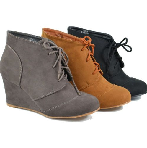 Womens Ankle Booties Wedge Faux Suede Lace Up Boots Size 6-10