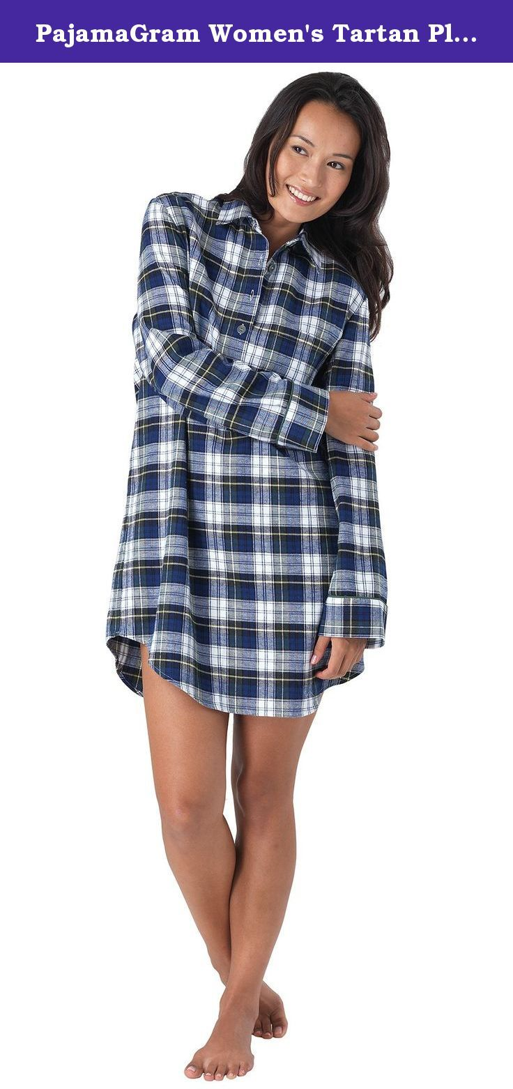 PajamaGram Women's Tartan Plaid Flannel Nightgown, Small / 4-6, Blue. Sleep and lounge in style in this delightful plaid nightshirt from PajamaGram. It offers a laid-back, boyfriend-style fit with traditional features that keep you toasty all night long. Our Tartan Plaid Nightgown is finished with a collar and a button-up placket for that classic menswear feel but has feminine finishes such as a curved hem and a flattering silhouette. Shop our complete collection for men's styles and more...