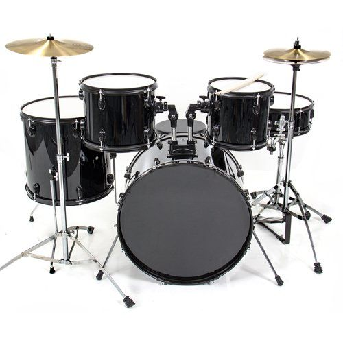 Best Choice Products Drum Sets-1263 5 Piece Complete Adult Drum Set with Cymbals Full Size (Black)