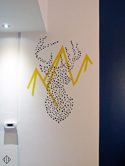 'Oh Deer!' Tape art wall design doneat a recently renovated residence. Tape is the new paint!