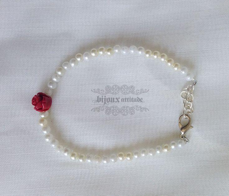 Bracelet ajustable blanc et rouge - bracelet classique pour femme - bijoux tout-aller, urbain, classique by BijouxAttitude on Etsy