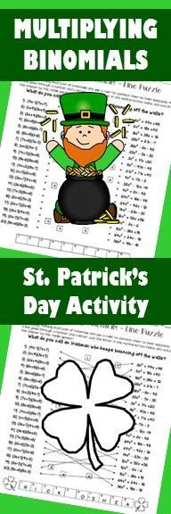 Multiplying binomials. Middle school or high school math and algebra activity. St. Patrick's Day algebra activity.