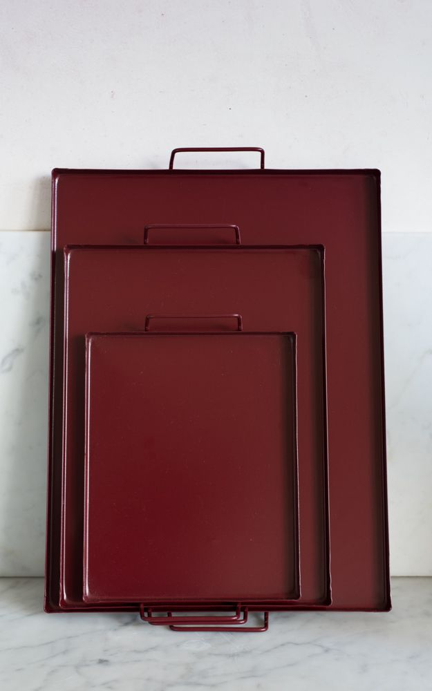 Powder coated steel tea trays in three different sizes