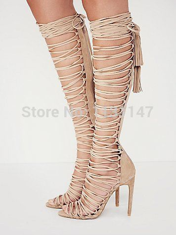 2015 top quality beige cuts-out strappy gladiator knee high boots women summer high heel booties sandals