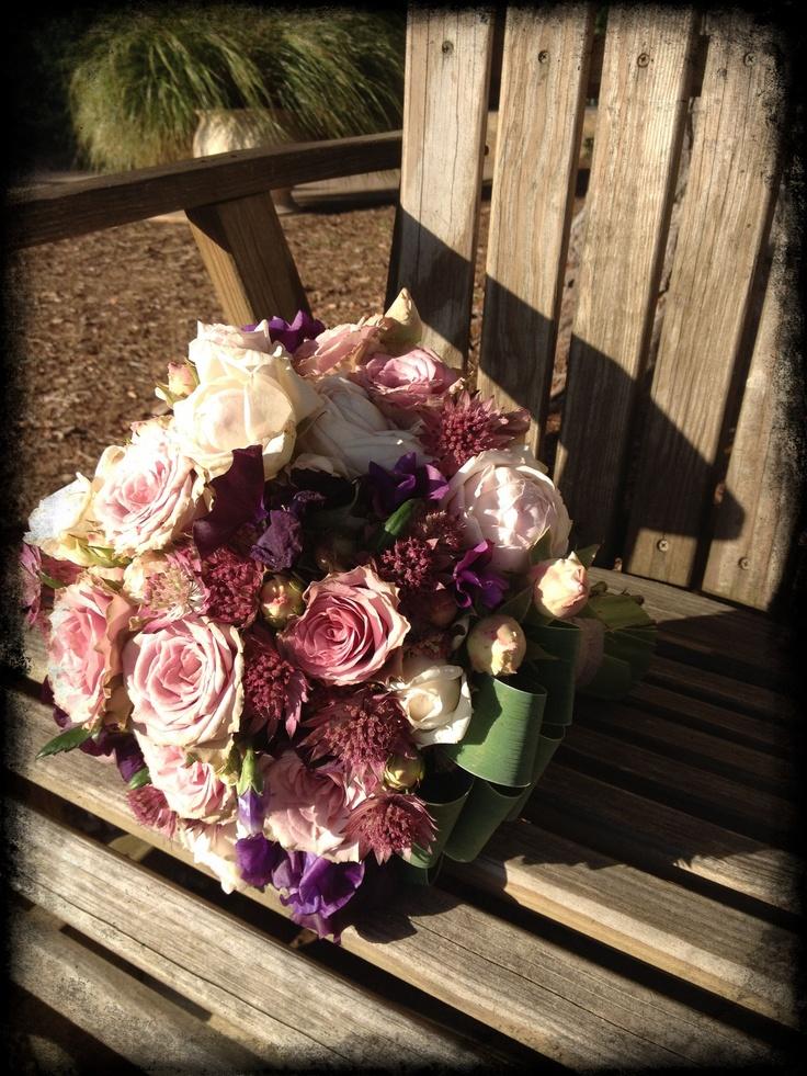 Old Dutch roses, garden roses, astrantia, sweet peas #bouquet for Allison by @Meredith Dlatt Dlatt Law ... M. Design of M. Design.