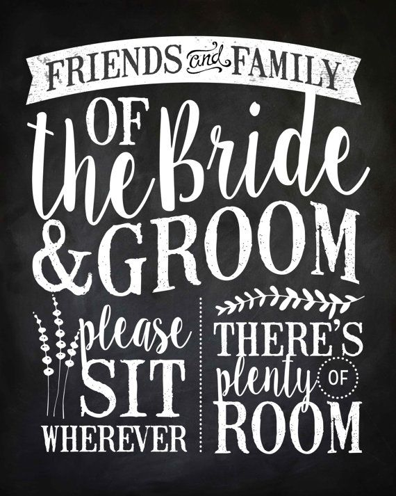 """Wedding Ceremony """"No Seating Plan"""" Sign, INSTANT DOWNLOAD, 16"""" x 20"""", Printable, DIY, Sign, Seating Plan, Chalkboard"""