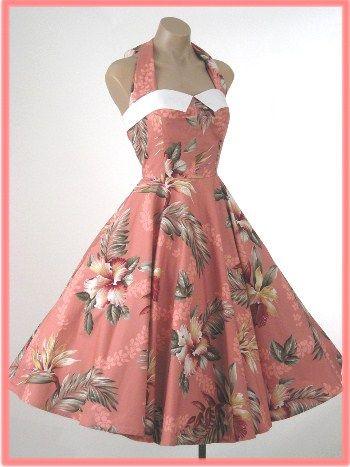 Pink coral 1950s swing dress, Hawaiian motif.1950S Style, Clothing Style, Hawaiian Prints Dresses, Vintage Fashion, Vintage Dresses, 1950S Dresses, 1950 S, Vintage Clothing, Vintage Style
