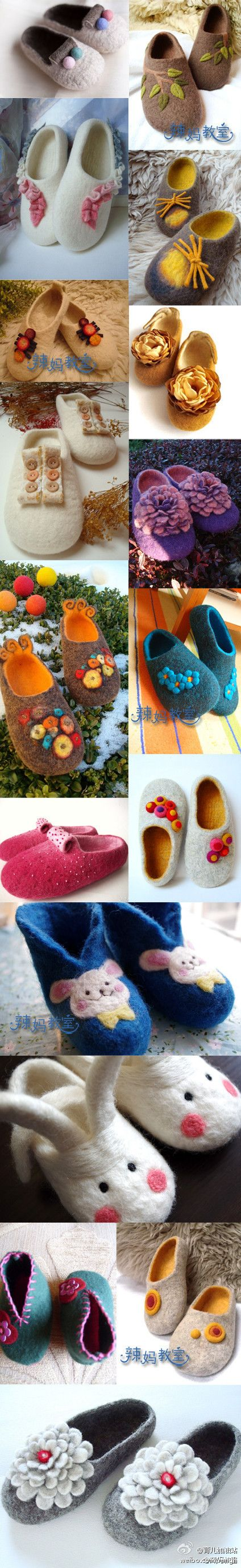 Wool felt shoes - I love the leafy one top right.