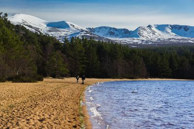 Loch Morlich enjoys one of the finest settings of any loch in the country. It is surrounded by forests and fringed by beaches, with the stunning backdrop of the often snow-clad peaks of the northern Cairngorms. The circuit of the loch is a very popular walk.