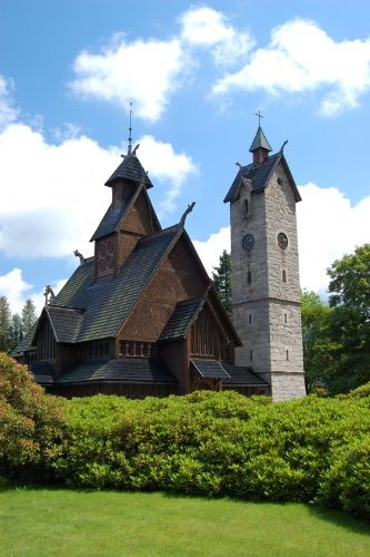 Norwegian Stavkirke. Built in Norway in the 12th Centurn, and moved to Poland.   Karpacz, Wang Temple #Poland