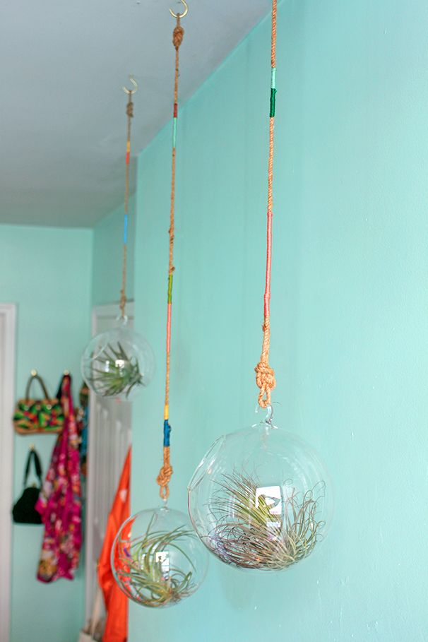 DIY thread wrapped plant hangers air plants glass bulb