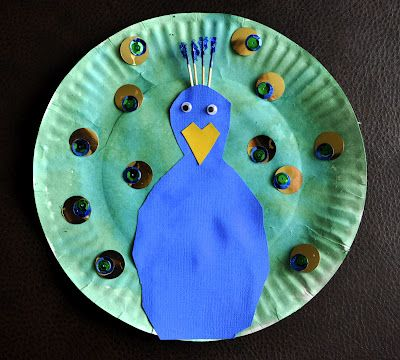 Paper Plate Peacock....very easy.  I did this one with a 4 year old and it was easy enough to try with a group of kids.