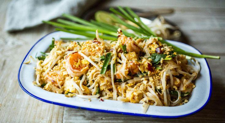 Pad thai med tofu og reker