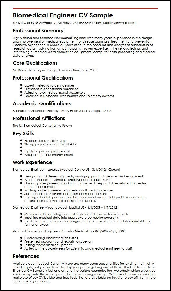 Year 6 Cv Template Cvtemplate Template Biomedical Engineering Resume Examples Engineering Resume
