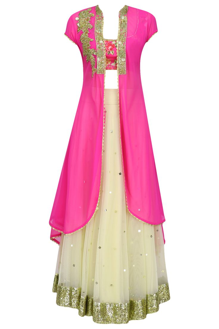 Beige lehenga skirt with pink floral printed blouse and jacket available only at Pernia's Pop Up Shop.