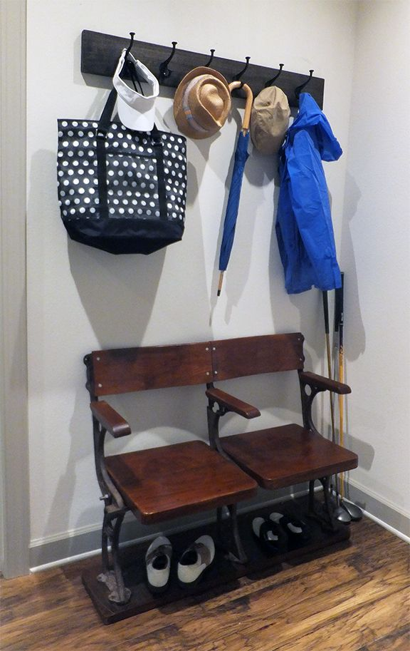 This Garage Area Entryway Features Vintage Hooks That Keep