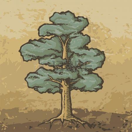Hand gezeichnet farbige Eiche mit groben Holzschnitt Schattierungen auf Grunge beige