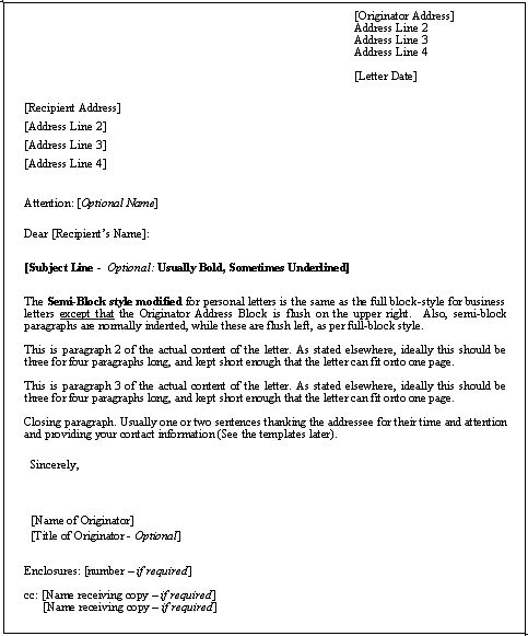 business letter format formal and professional tamplate download template sample
