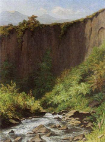 Wilhelm Bleckmann - Gezicht op Javaans landschap