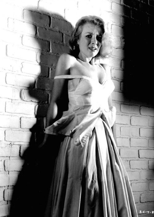 Inger Stevens pictured on the set of Cry Terror!, 1958, directed by Andrew L. Stone.