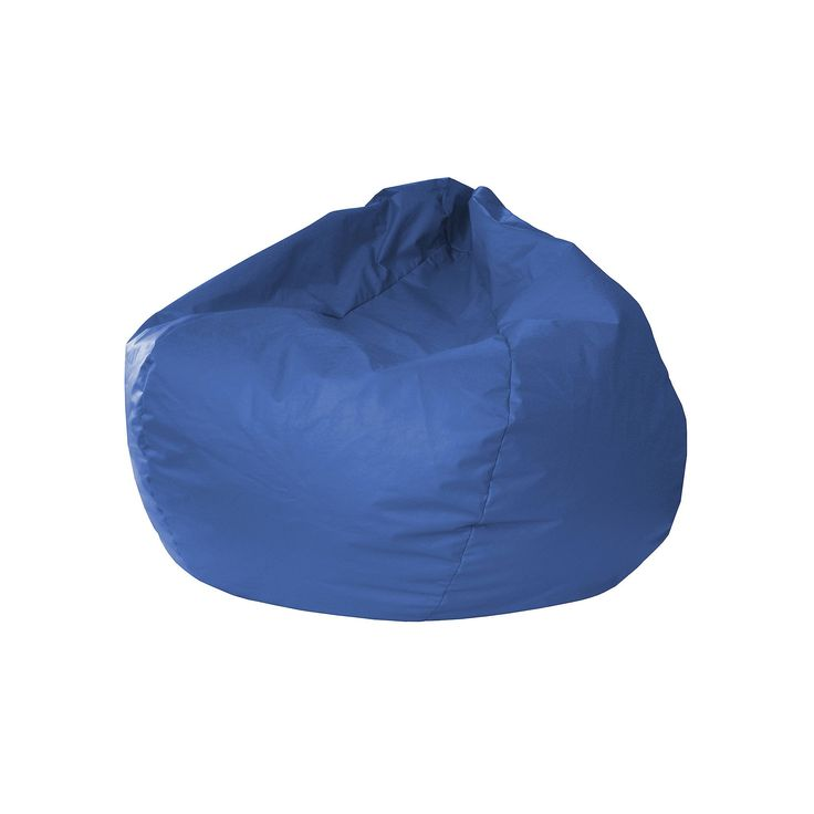 Extra Large Faux-Leather Bean Bag Chair, Med Blue