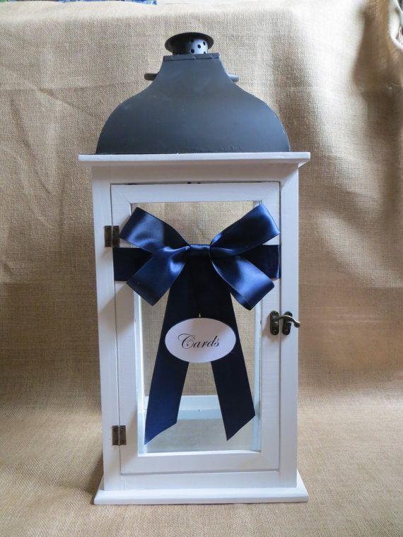 Large Nautical Wedding Lantern Card Holder, Beach Style Wedding Decoration, Money Holder, Card Box, Wedding Lantern