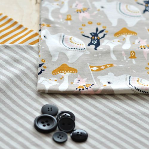 NOSH Organics Fabrics - SIRKUS, Soft Gray