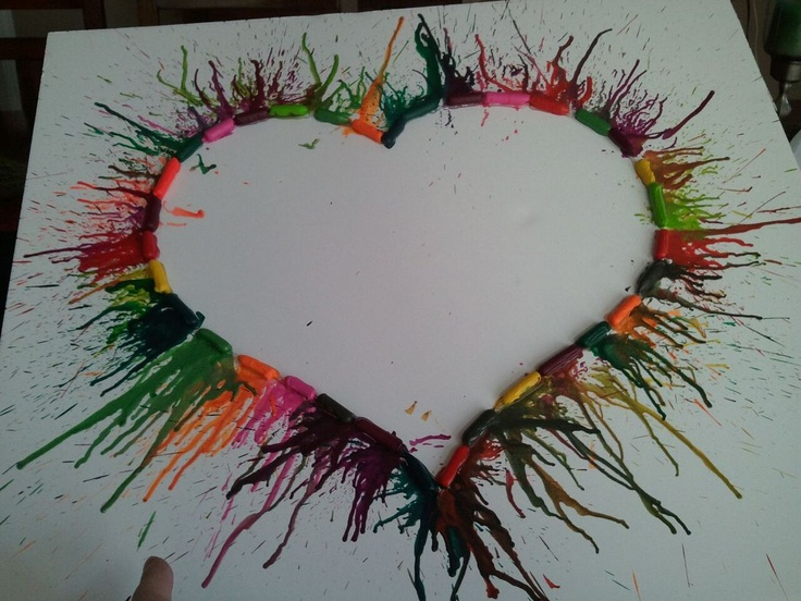 Awesome Craft to do! Really simple! Just hot glue the Crayons on a posterboard and then blow dry the crayons then the wax will melt! Its pretty awesome. @Emily Schmar Made it!