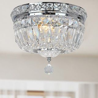 Elisa Chrome and Crystal Flushmount Chandelier - Free Shipping Today - Overstock.com - 14293146 - Mobile