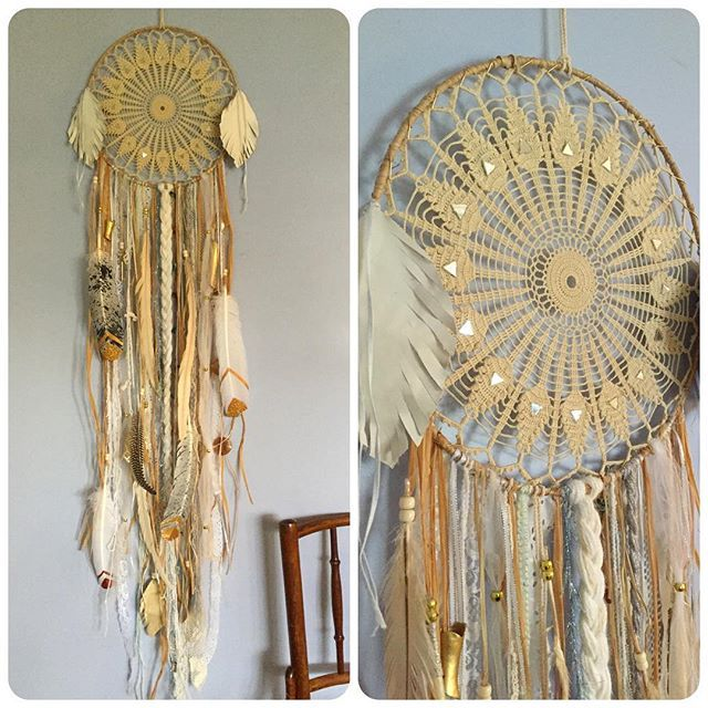 "((SOLD -- thank you @4r1337 Alex!!)) Five foot long #dreamcatcher with vintage lace and mirrored 12"" diameter center, gold tipped glitter feathers, some gold painted bone vertebra and a gold key, lots of lace and natural grasses, offered here for $275 plus shipping before it goes on my #Etsy shop. Comment or message with PayPal email to have it be yours. A portion of sales will benefit #indigenousrights groups fighting climate change by preserving sacred lands. Available until marked ""sold""."