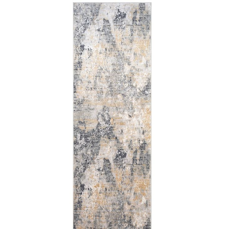 """2'7"""" x 7'7"""" Abstract Patterned Gray and White Rectangular Machine Woven Rug Runner"""